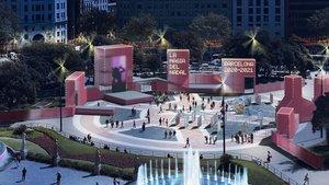Recreación del escenario que acogerá el Festival de Navidad en la plaza de Catalunya en diciembre.