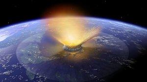 Reconstrucción artística del impacto del asteroide que hace unos 65 millones de años provocó la extinción de tres cuartas partes de las especies de animales y vegetales, incluidoslos dinosaurios
