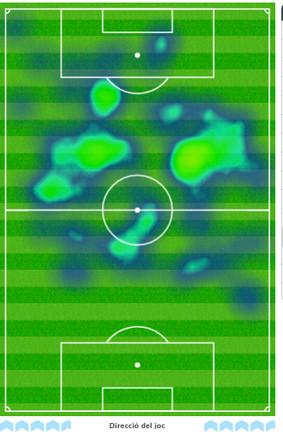Mapa de calor de Messi ante el Sevilla (3-0)