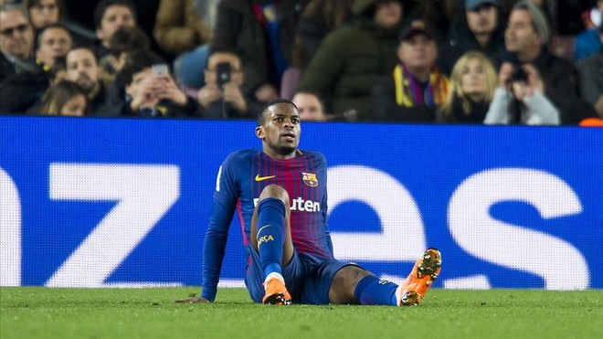 Semedo, en el Camp Nou tras sufrir la lesión muscular ante el Girona.