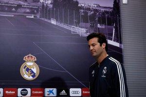Solari en su primera rueda de prensa como entrenador del Real Madrid.