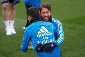 Sergio Ramos durante un entrenamiento con el Real Madrid.