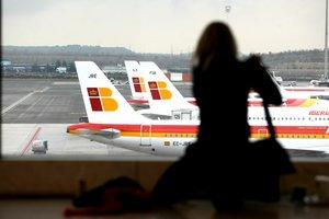 Aviones de Iberia, en el aeropuerto Adolfo Suárez, de Madrid.