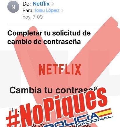 Mensaje de la Policía Nacional en su cuenta de twitter, alertando de los casos de delincuentes que tratan de robar datosde clientes deNetflix.