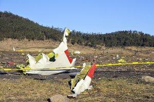 Restos delavión de Ethiopian Airlines accidentando y que dejó 157 muertos. EFE