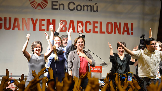 Ada Colau, de Barcelona en Comú, comparece ante sus seguidores en el complejo Fabra i Coats de Sant Andreu.
