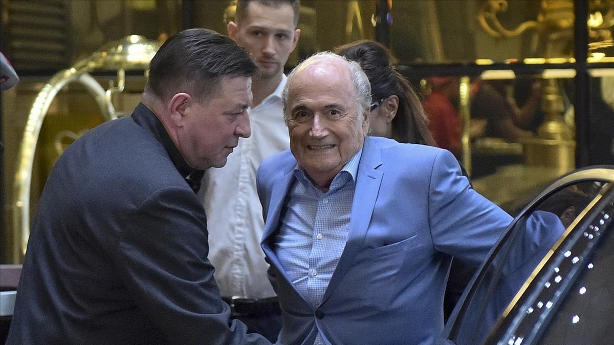 Blatter, a su llegada a Moscú.