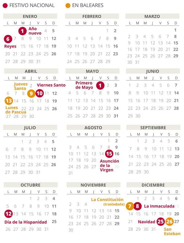 Calendario laboral de Baleares del 2020.