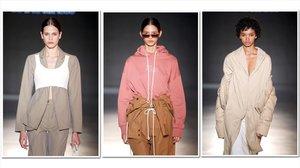 Tres propuestas de la diseñadora Sonia Carrasco, que se han presentado este miércoles en la pasarela 080.