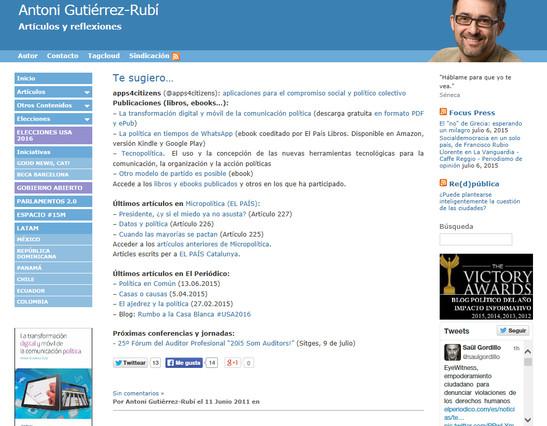Captura de la página principal del blog de Antoni Gutiérrez-Rubí, ganador del premio al Blog Político del Año.