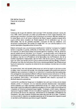 La carta de Torra, Puigdemont y Mas al rey Felipe VI.
