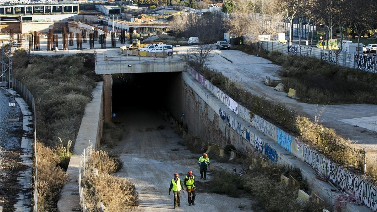 Obras en la futura estación del AVE en La Sagrera