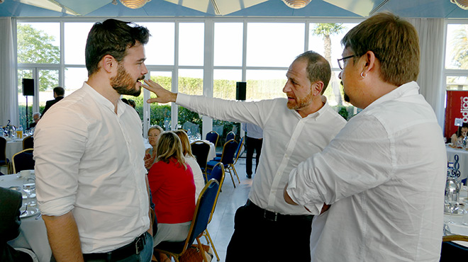 Los candidatos a las elecciones generales por En Comú Podem y ERC, Xavier Domènech y Gabriel Rufián,en el debate que organiza EL PERIÓDICO y Banc Sabadell.