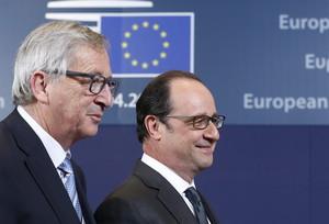 El presidente de la Comisión Europea, Jean-Claude Juncker, y el presidente francés, François Hollande.