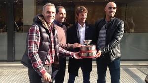 Corretja, Costa, Ferrero y Balcells, este jueves en Barcelona.