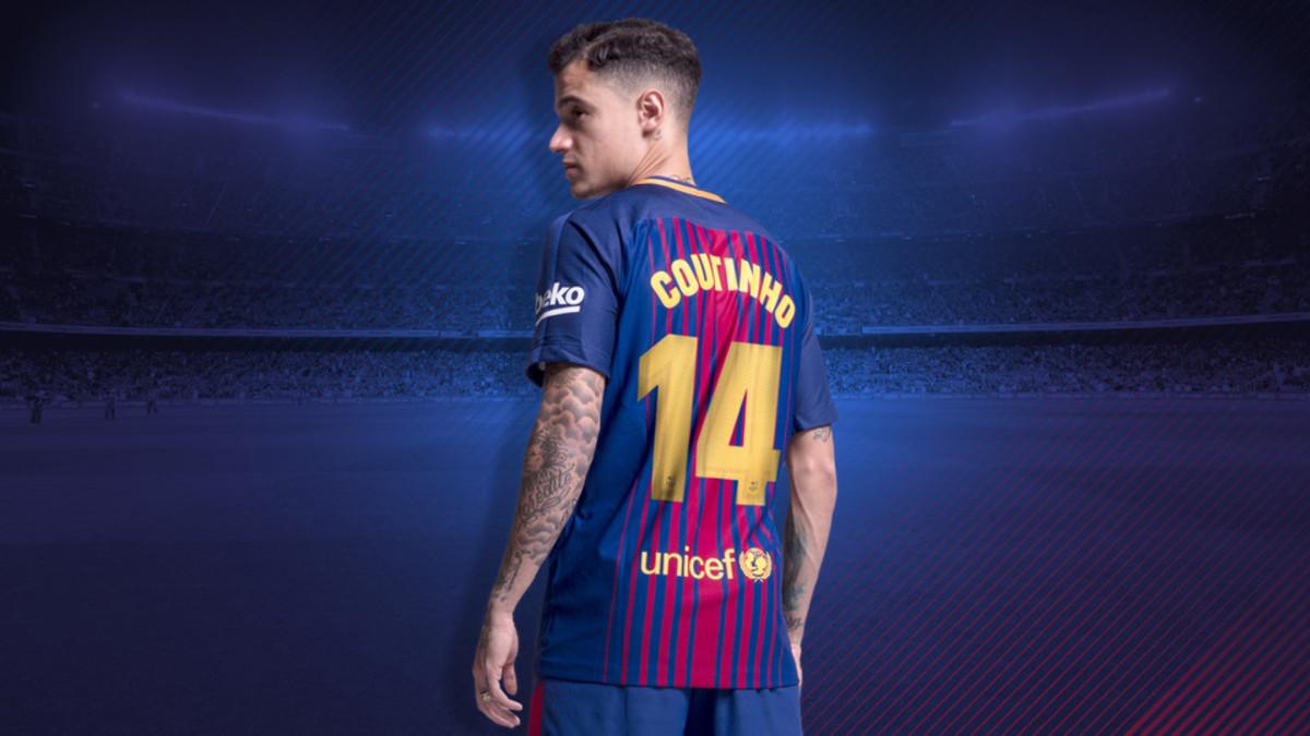 Coutinho, con el número 14 que lucirá en el Barça.