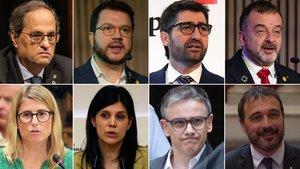 Quim Torra, Pere Aragonès, Jordi Puigneró, Alfred Bosch, Elsa Artadi, Marta Vilalta, Josep Maria Jové y Josep Rius.