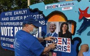 Carteles de apoyo a Joe Biden en Florida, EEUU.