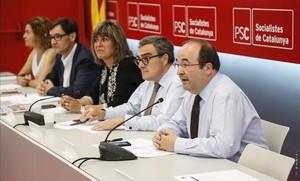 Miquel Iceta, durante la reunión de la ejecutiva del PSC.