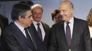 François Fillon y Alain Juppé, juntos en París.