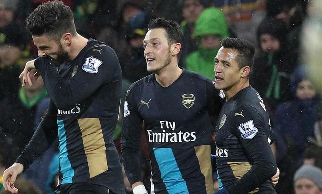 Giroud, Özil y Alexiscelebran un gol del Arsenal al Norwich.