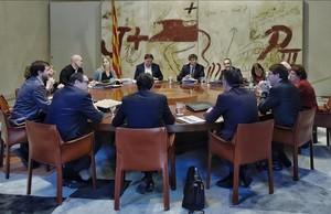 Reunión del Consell Executiu en el Palau de la Generalitat.