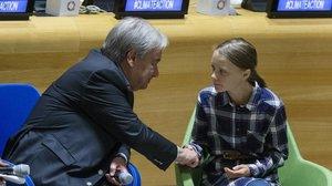 Greta Thunberg con el secretario general de la ONU, Antonio Guterres.
