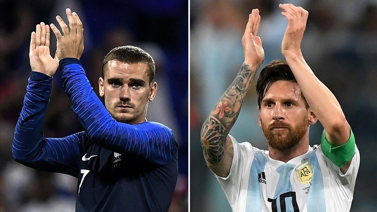 Griezmann y Messi, las estrellas de Francia y Argentina, respectivamente