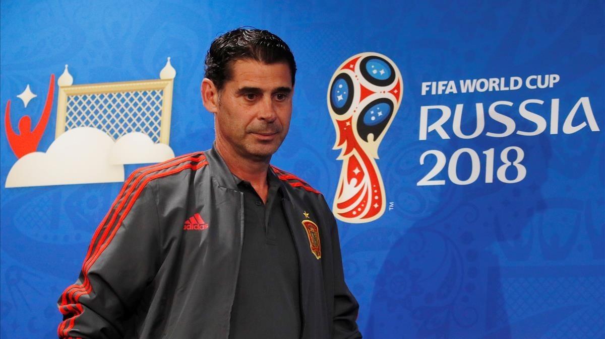 Hierro, en la conferencia de prensa que ofreció en el estadio Luzhniki de Moscú.