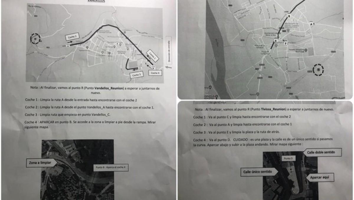 Imágenes de los mapas que llevaba el grupo identificado por los Mossos.