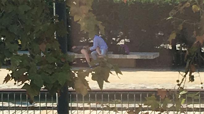 Un home masturbauna dona al parc de Carles I, el 3 d'octubre.
