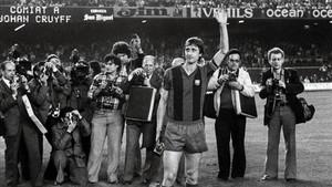 Cruyff, durante su partido de despedida del Barça contra el Ajax en el Camp Nou.