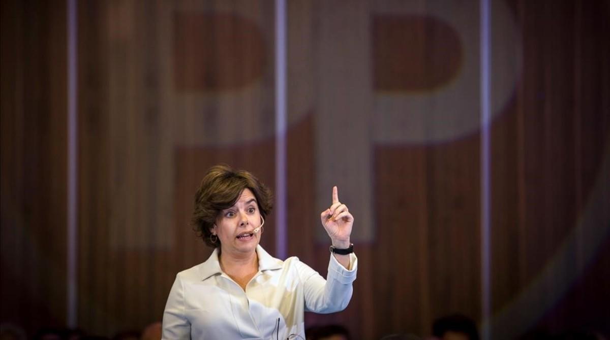 La candidata a la presidencia del PP, Soraya Sáenz de Santamaría.
