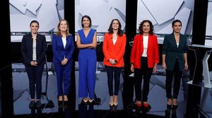 Las dirigentes de los principales partidos con representación parlamentaria(i-d) Irene Montero (Unidas Podemos),Ana Pastor (PP),Inés Arrimadas (Ciudadanos),María Jesús Montero (PSOE)y Rocío Monasterio (Vox).