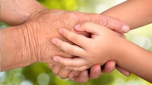 Las manos de un anciano y de un niño.