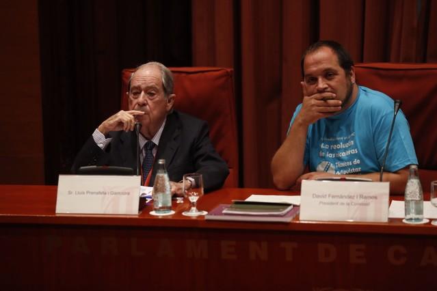 L'exsecretari general de Presidència Lluís Prenafeta, aquest dimarts, durant la seva compareixença en la 'comissió Pujol'.