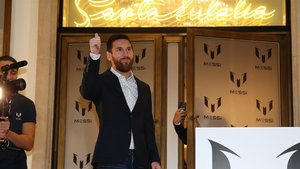 Messi, a las puertas de Santa Eulalia, este jueves.