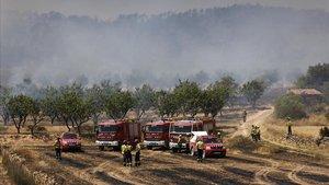 Los bomberos trabajan en el incendio de Vinebre.