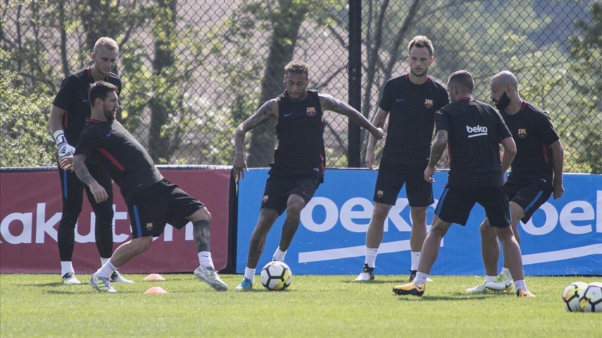 Los jugadores del Barça, durante el entrenamiento en Nueva Jersey.