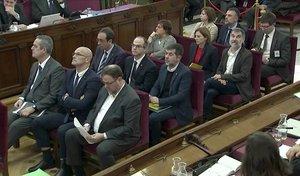 Los políticos presos, durante el juicio del 'procés'.