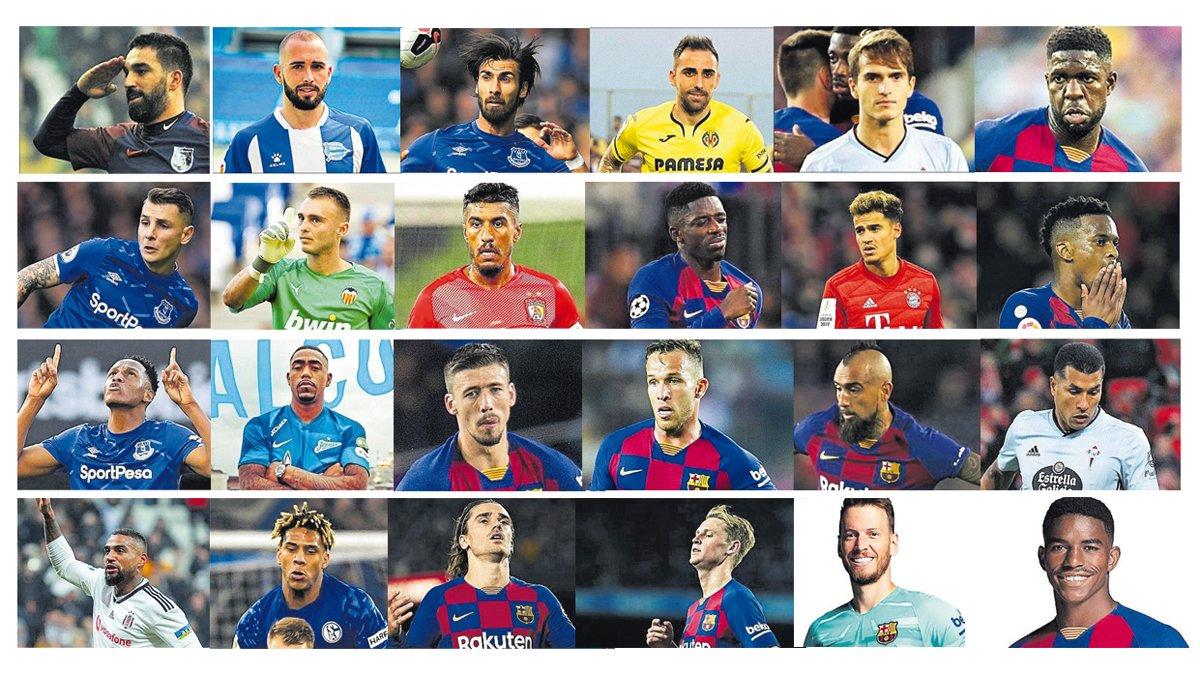 Los 24 últimos fichajes realizados por el Barça (2015-2020).