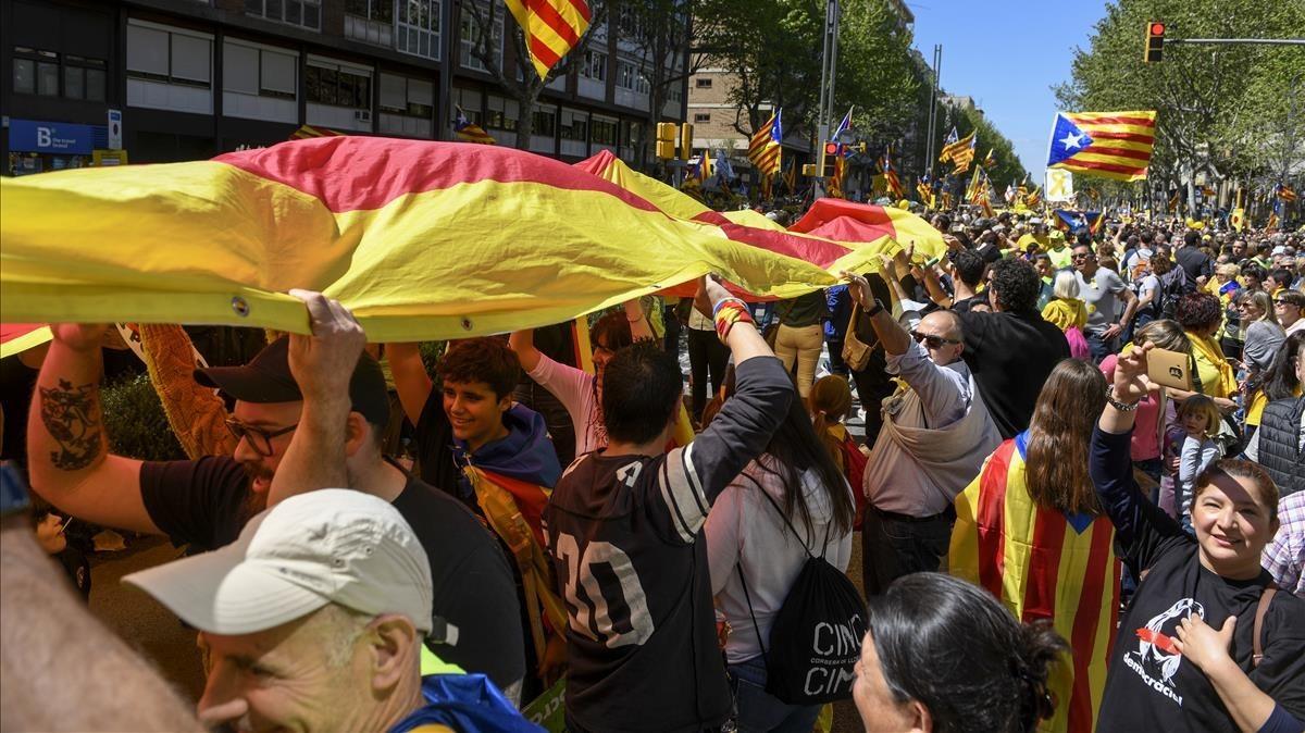 Manifestación a favor de la libertad de los presos independentistas
