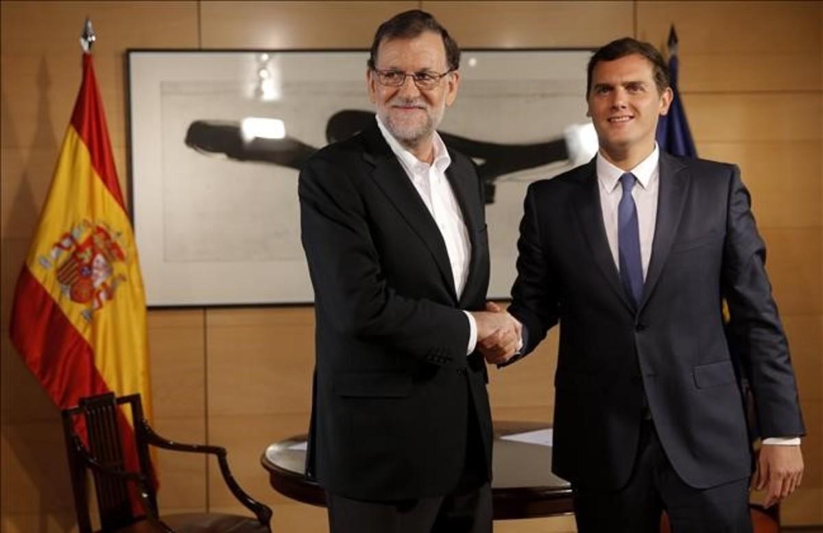 Mariano Rajoy y Albert Rivera, el pasado 10 de agosto, en el Congreso.