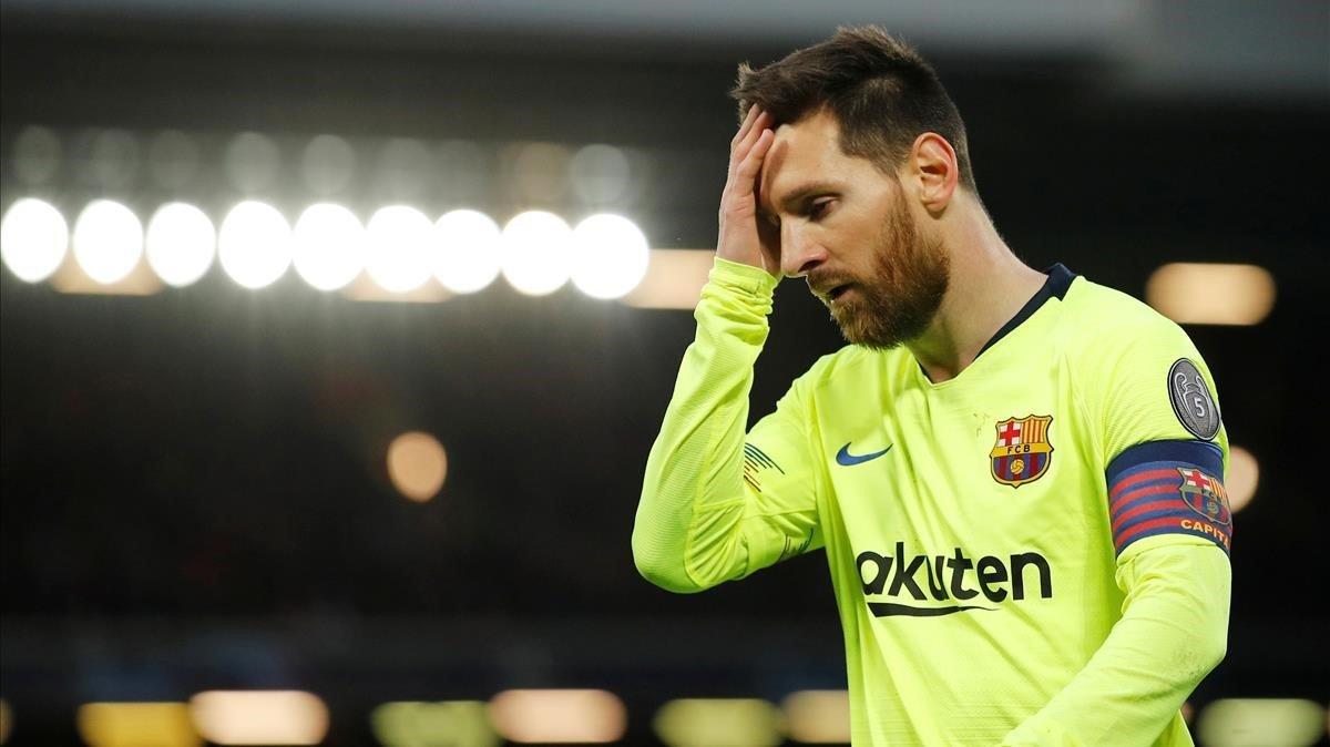 Messi, desolado en Anfield.