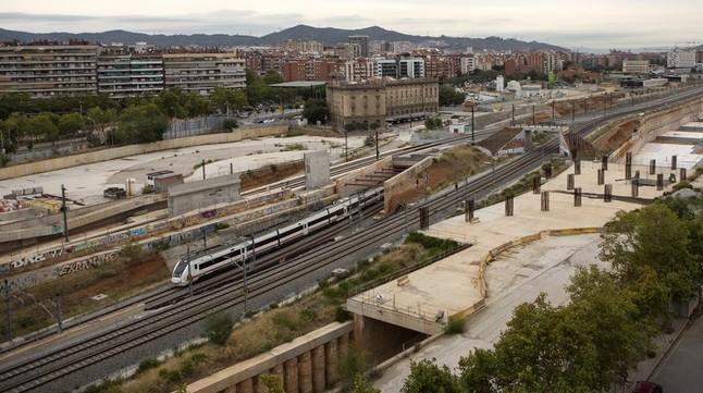 Obras de la estación de La Sagrera, en septiembre del 2015.