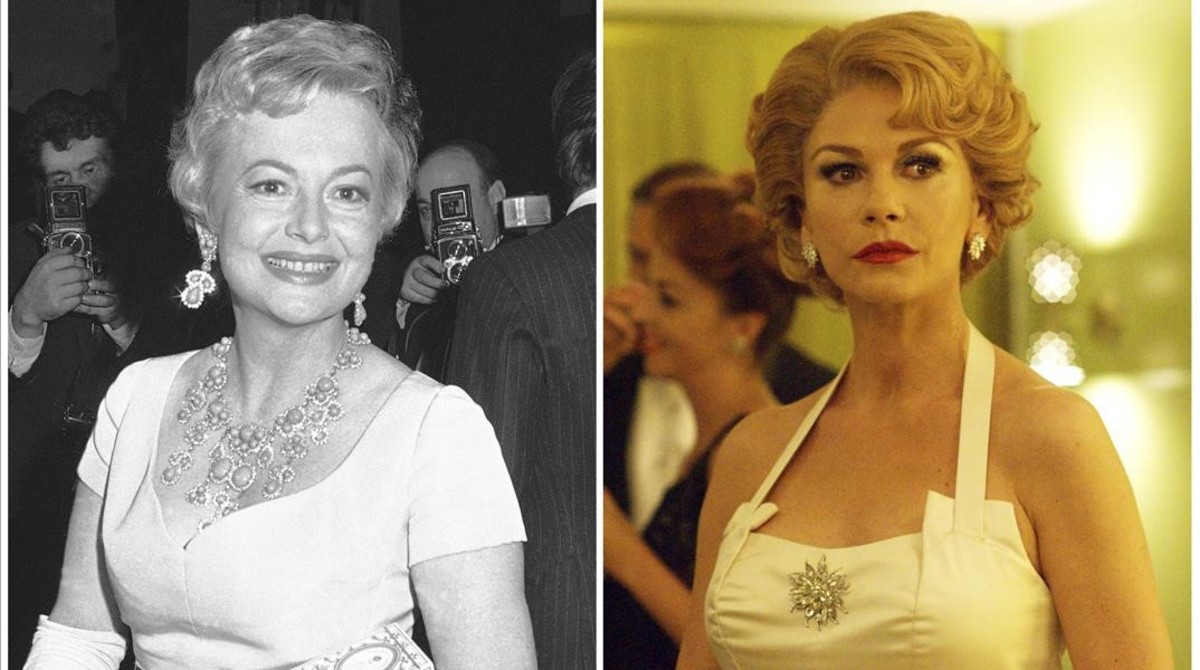 Olivia de Havilland y Catherine Zeta-Jones, que la interpreta en la serie 'Feud'.