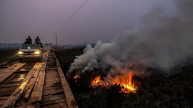 El Pantanal, entre Brasil, Bolivia y Paraguay, bate su récord de incendios en septiembre.
