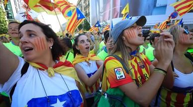 Participantes de la manifestación de la Diada.