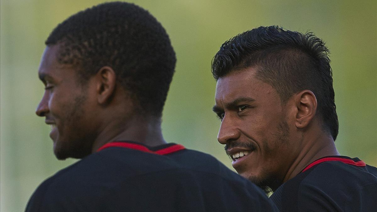 Paulinho y Semedo, en un entrenamiento del Barça de esta pasada semana.