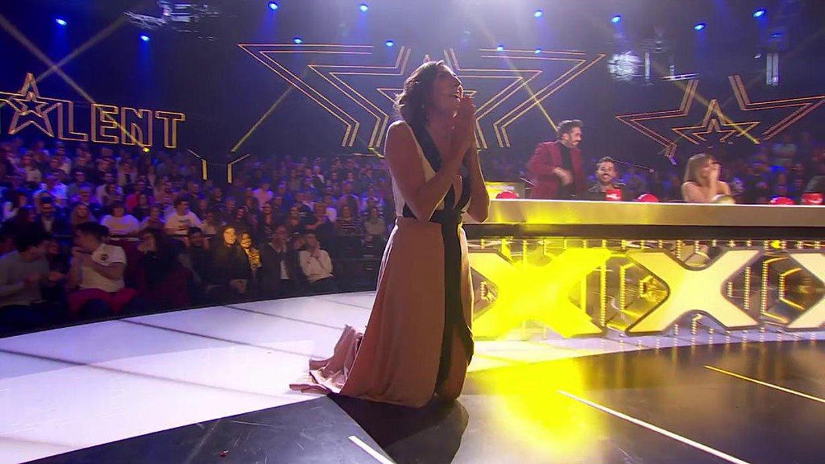 Paz Padilla pidiendo perdón en la tercera semifinal de 'Got Talent'.